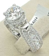 Women's Ladies Solid 925 Sterling Silver Cubic CZ Cathederal Bridal Promise Ring