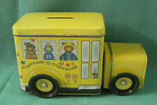 "School Bus Tin Bank moveable wheels -""O HAPPY DAY"""