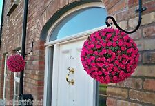 2 Best Artificial 28cm Pink Rose Topiary Hanging Flower Balls Grass Plant New