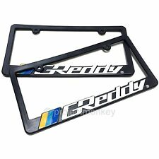 Greddy Logo License Plate Frame x 2 Black Plastic Number Tag Holder Genuine JDM