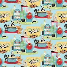 """Wild Wings House Dogs Play time 100% cotton 43"""" Fabric by the yard"""