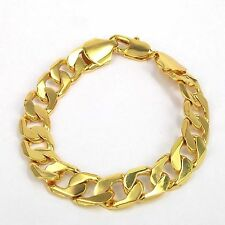 "Men's Valentine's Gift 18K Yellow Gold Filled 9"" 24cm No Stone Chain Bracelet"