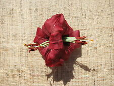Burgundy lilly hair flower/accessory clip Rockbilly/Hawaiian/Tiki/Pinup