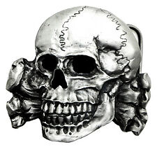 Skull Belt Buckle Totenkopf Fractured Skull & Crossed Bones Gothic Official