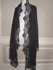 STUNNER $2K VALENTINO BLACK 100% CASHMERE AND FRENCH LACE LRG SHAWL WRAP