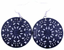 Punk style black cutout circle with flower pattern dangle earrings