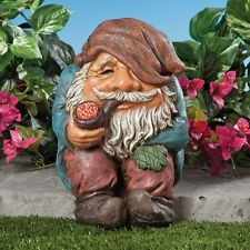 Funny Sitting Garden Gnome Statue Outdoor Sculpture Lawn Yard Patio Figurine