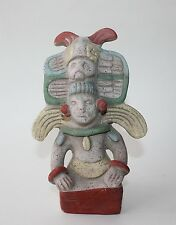 Mexican Art Pottery Hand Painted Aztec Mayan Clay Figurine