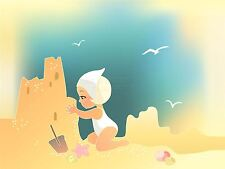 PRINT NURSERY BEACH SCENE GIRL SANDCASTLES GULLS STARFISH KIDS BEDROOM LFMP0822