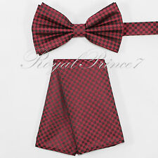 Plaids & Checkers Pre-tied Bow tie and Pocket Square Hankie Set 3053 Wedding