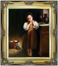 Framed Hand Painted Oil Painting Repro Bouguereau, Petite Boudeuse 20x24in