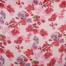 140cm Wide Silk Cotton Pink Purple Floral Print Fabric By The Meter