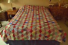 "Vintage Hand-Pieced Bright Diamonds Quilt-Top, 72"" x 91"", M66"