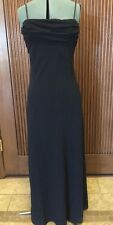 BETSY & ADAM Black Sparkle Spaghetti Strap Gown Formal Evening Dress Sz.14