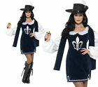 Ladies Musketeer Costume Medieval Fancy Dress Guard Knights Outfit