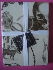 WILLIAMS SONOMA HALLOWEEN KITCHEN TOWELS SKELLIE SKELETON BONE SPECIMENS SET 2