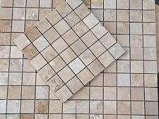 Sample of Filled Light Walnut Travertine Mosaic Tiles 48 x 48 x 10 mm