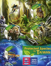 Solomon Isl 2015 MNH Protected Species Taiwan Taipei 4v M/S Birds Turtles Stamps