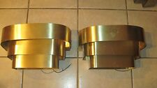 set of 2,  3-Tiered Theater art deco style Brass Tone wall Sconce/light Fixture