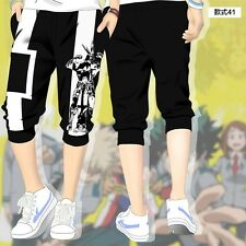 Anime My Hero Academia Cosplay Shorts Pants Casual Black Cropped Trousers M-2XL