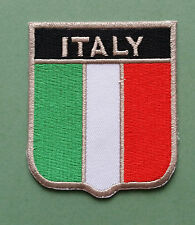 NATIONAL FLAG COUNTRY SHIELD SEW ON / IRON ON EMBROIDERED PATCH:- ITALY