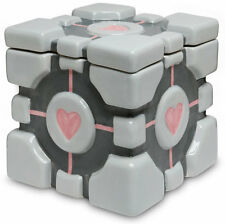 "PORTAL - Companion Cube 7"" Ceramic Cookie Jar (Think Geek) #NEW"