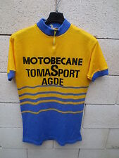 VINTAGE Maillot cycliste MOTOBECANE TOMASPORT AGDE ancien collection 70's M rare