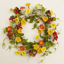 New Country Tuscan SUMMER GARDEN TRUMPET FLOWER Candle Ring Wreath 18""