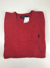 BNWT MENS POLO RALPH LAUREN RED LAMBSWOOL CREWNECK SWEATER MEDIUM