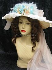 Downton Abbey Edwardian Victorian style blue Hat made in usa 1068 B
