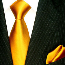 8441701 LORENZO CANA Italian Tie Set with Hanky 100% Gold Yellow Solid Satin New