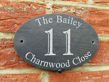 Personalised Natural Slate House Name Door Gate Number Oval Sign Plaque 13x20cm