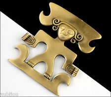 VTG TRIFARI FIGURAL PRECOLUMBIAN TRIBAL AZTEC INCA MAYAN GOD BROOCH PIN 1970s