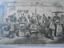 Gravure 1858 - Cuisiniers et restaurateurs ambulants à Canton China
