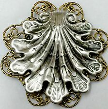 """OYSTER SEA SHELL ~FILIGREE ~Silver Overlay On Stamped Brass~Picture Button~2"""""""