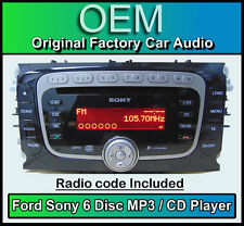 Ford Mondeo car stereo 6 Disc CD player, Ford Sony CD MP3 changer + radio code