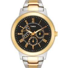 NEW TIMEX TWO TONE, GOLD,SILVER,ROMAN # RETROGRADE BLACK DIAL MEN'S WATCH-T2M423