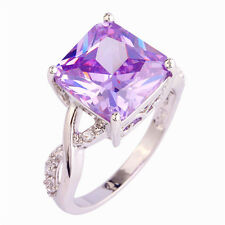Fashion Tourmaline Purple White Topaz Gemstone Silver Jewelry Women Ring  Size 8
