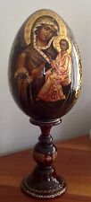 "Large Russian Wood Hand Crafted Icon -Egg Of BlESSED SMOLENSK VIRGIN 17.5"" 2012"
