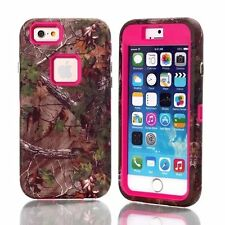 Brown Tree Camo Shockproof Hybrid Drop Defender Case Cover For iPhone & Samsung