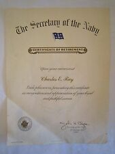 1971 CERTIFICATE of RETIREMENT CHARLES E RAY from SECRETARY of the NAVY *