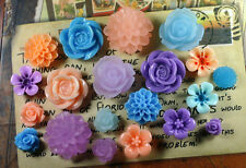20pcs - Resin Flower Cabochons - Purple/Blue/Peach