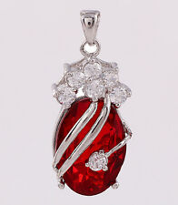 Unique Lady Jewelry Silver Cut Surround Ruby & Topaz Necklace Pendant Gift