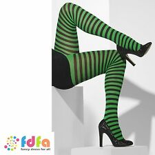 BLACK & GREEN STRIPE OPAQUE TIGHTS WITCH 10-14 womens ladies hosiery fancy dress