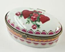 Caja con tapa, de pastillas, Porcelana, Decoración Floral, hebilla metal D4)