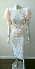 VINTAGE 80s LACE PALE PINK PINAFORE PEPLUM PUFF SLEEVE PENCIL DRESS sz ML