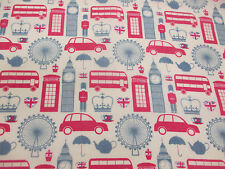 "I ""Heart"" London, London Buses, Big Ben British Printed Polycotton Fabric"