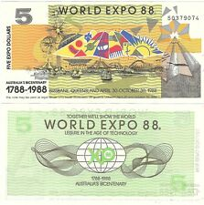 Australia World Expo 5 Dollars 1988 Brisbane NEW UNC Uncirculated Banknote