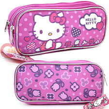 Sanrio Hello Kitty Pencil Case Zippered  Cosmetic Pouch Bag - Purple Dots Flower
