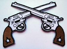 CROSS GUNS COWBOY Embroidered Iron on Patch Free Postage